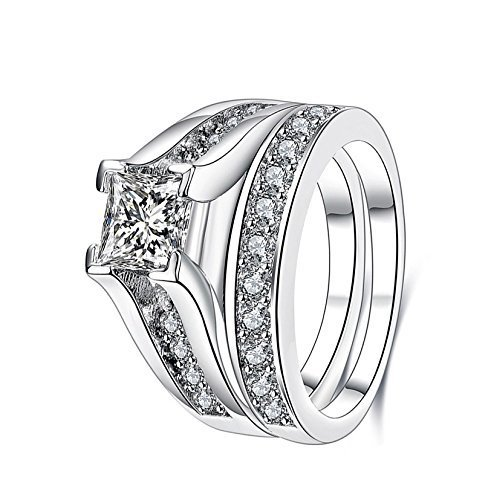2pcs one Set Platinum Plated Engagement Ring with 2.1ct Princess Cut Clear Zirconia Wedding Rings for Women (8)
